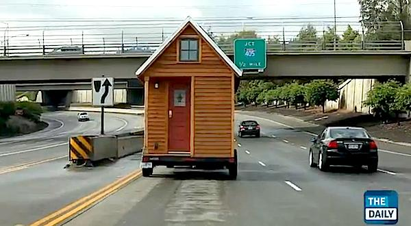 Tiny House Being Towed on the Highway