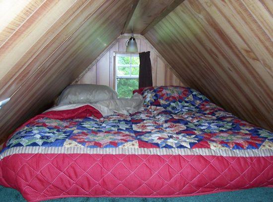 Sleeping Loft in the Plain Jane Tiny House on a Trailer