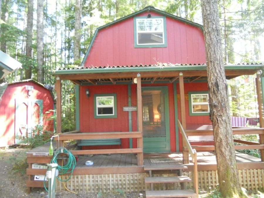 Tiny barn cabin for sale with land and rv hook ups for Cabin a camper for sale