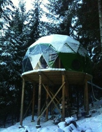 Tiny Geodesic Dome Home on Stilts with a View