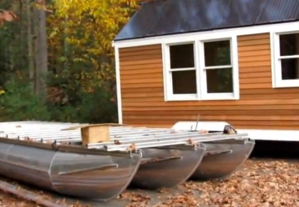 Solar Tiny House Doubles As Tri-Toon Houseboat