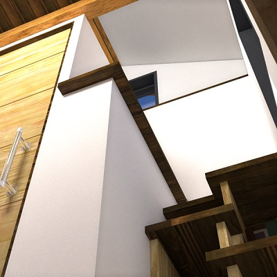 Staircase with Storage to Sleeping Loft in Nook Tiny House Plans