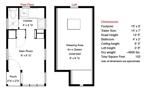 Weebee Tiny House Floor Plan