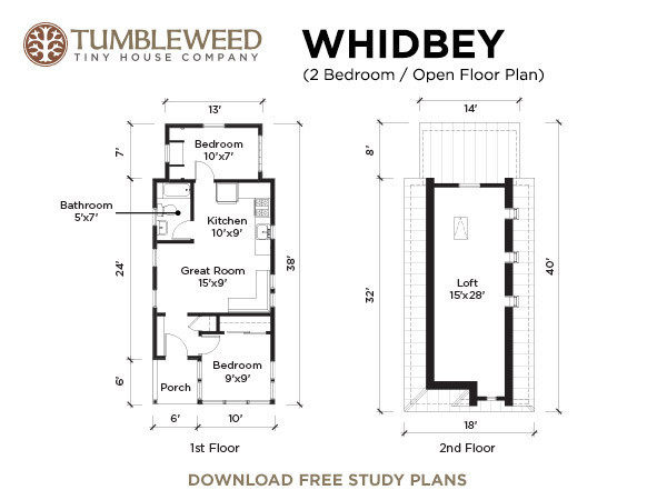 Tumbleweed Whidbey Tiny Cottage Floor Plan