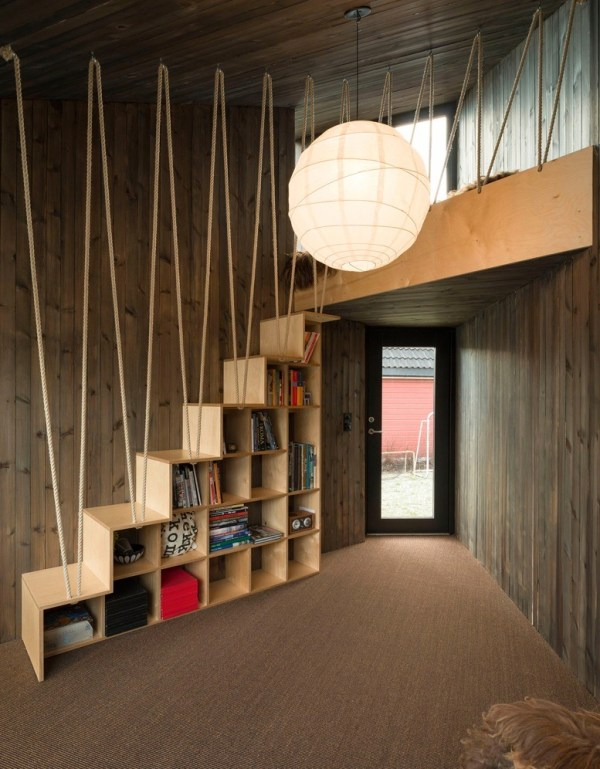 zig zag rope staircase with built in bookshelves