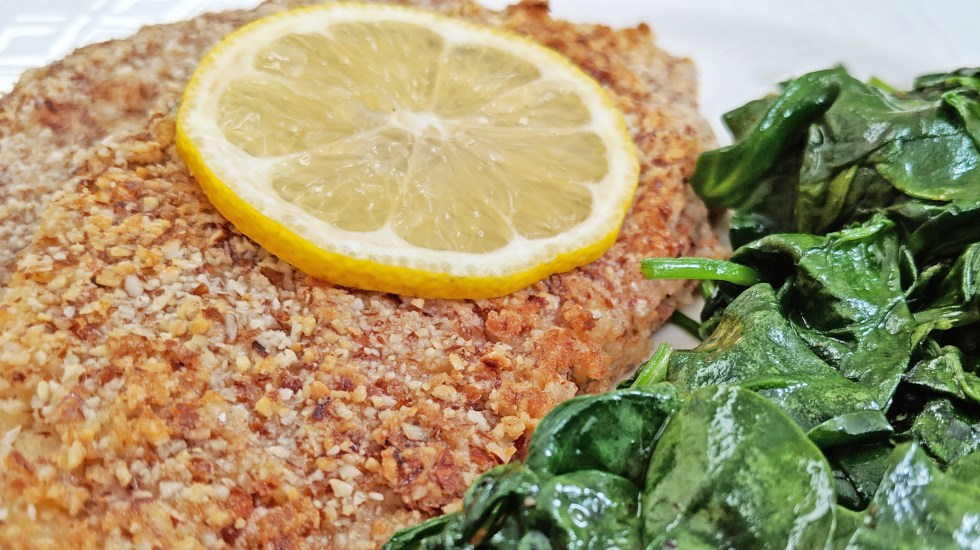 Keto Almond Crusted Fish with lemon and spinach