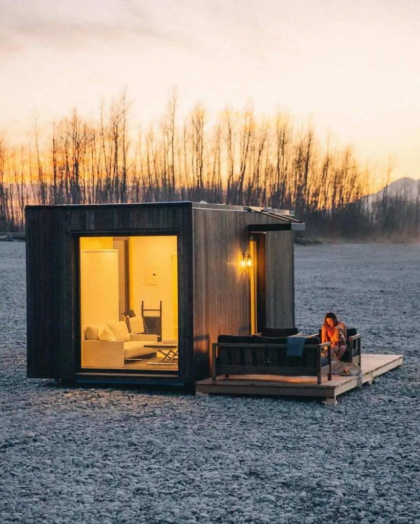 off grid tiny house on a beach