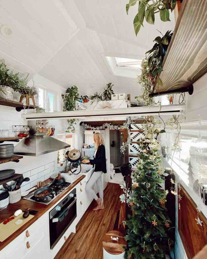 tiny house decorated for Christmas