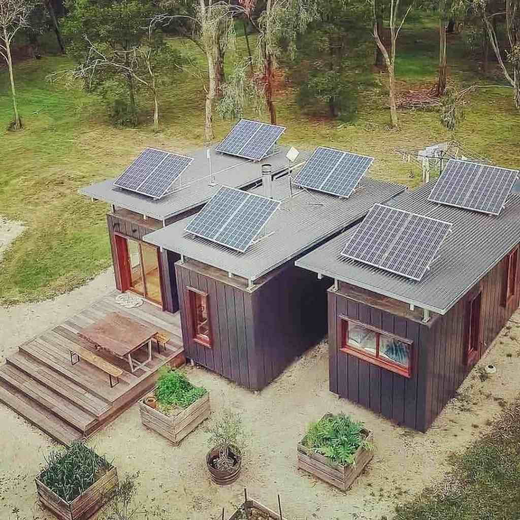 sustainable tiny home with solar panels