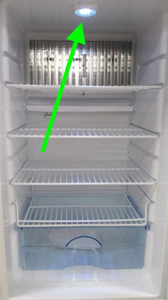 superior propane refrigerator with light