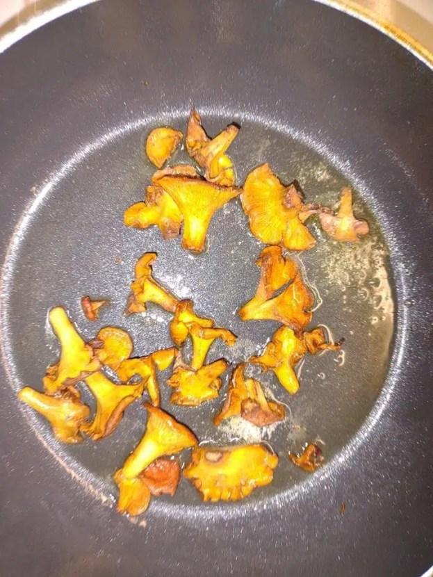 Cooking wild chanterelle mushrooms