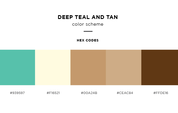 deep teal and tan color scheme