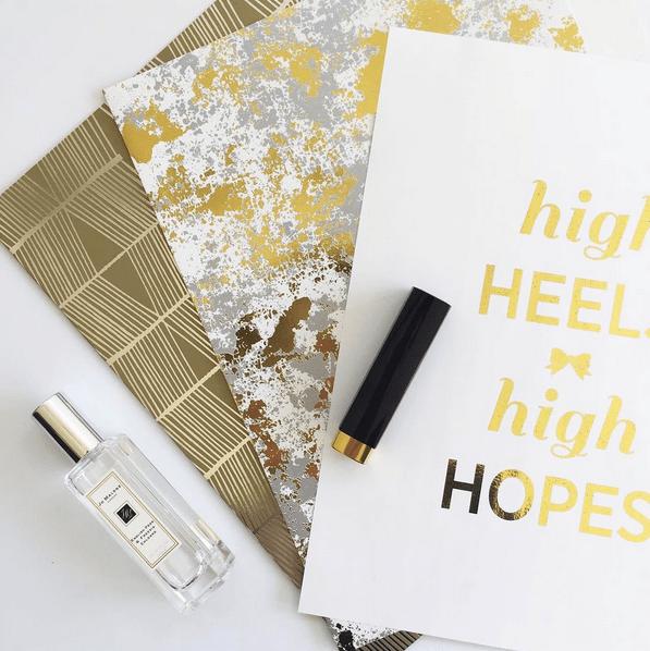 'high heel high hopes' gold foil