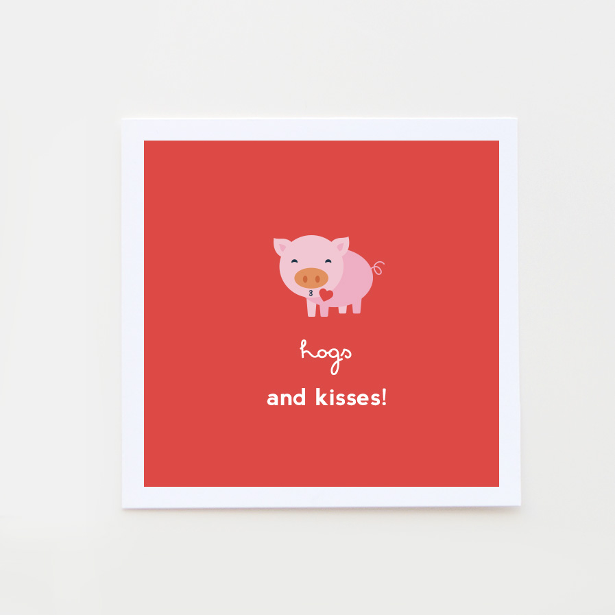 hogs and kisses valentine card