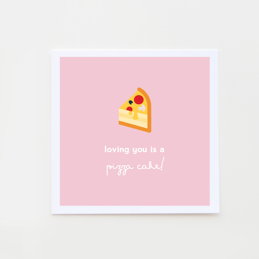 pizza cake valentine card