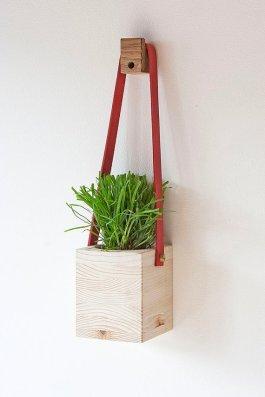 suspension pour plante cuir et bois