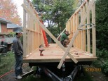 Two walls up and braced.