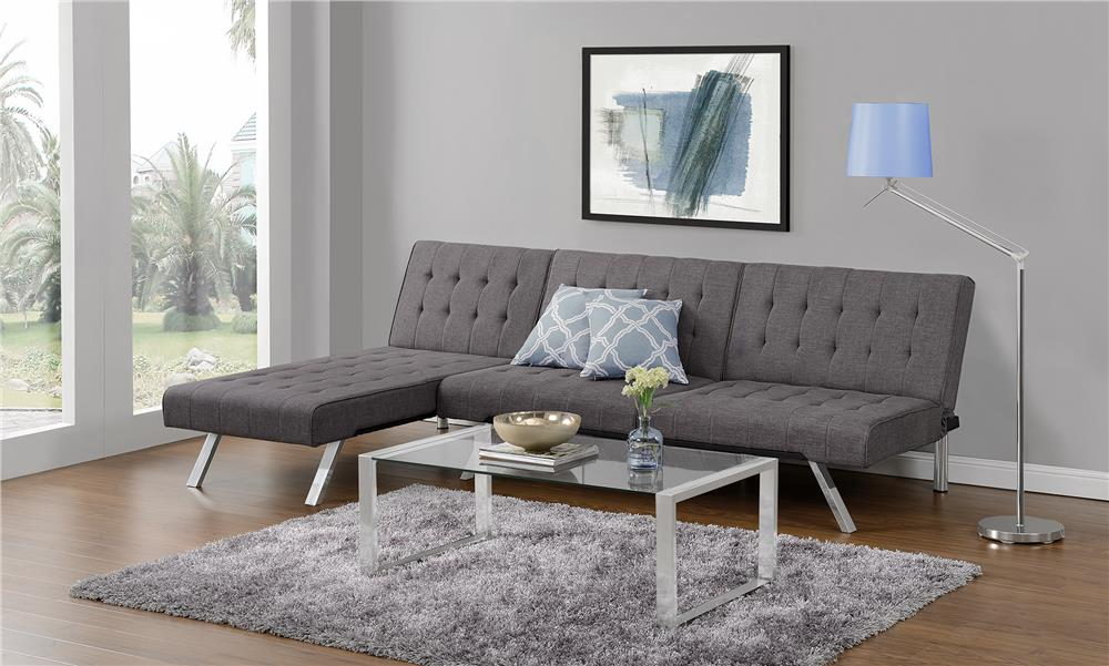 The Best Small Sleeper Sofa   DHP Emily Convertible Linen Futon Review