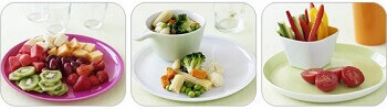 Vegetable and fruit salad in plate