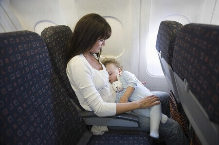 Image of a mother with her kid in aeroplane