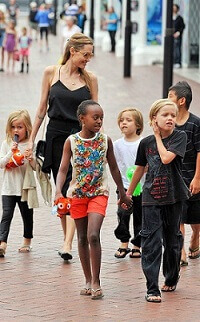 Image of Angelina Jolie with her kids