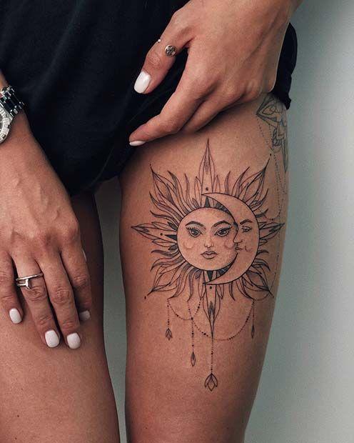 Badass Thigh Tattoo Ideas for women sun and moon