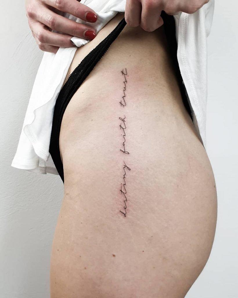 destiny faith trust fineline tattoo on thigh