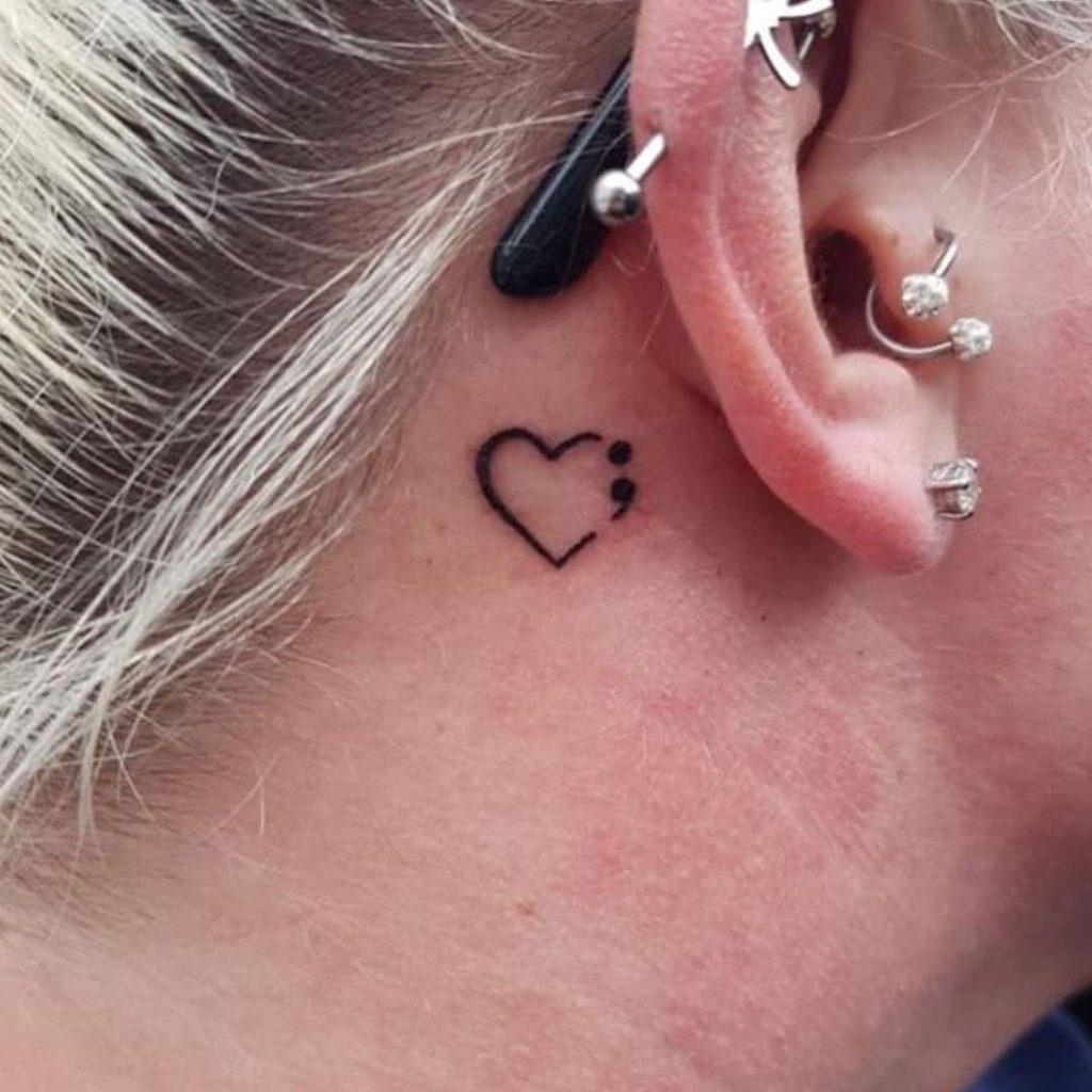 behind the ear semicolon heart meaningful tattoo