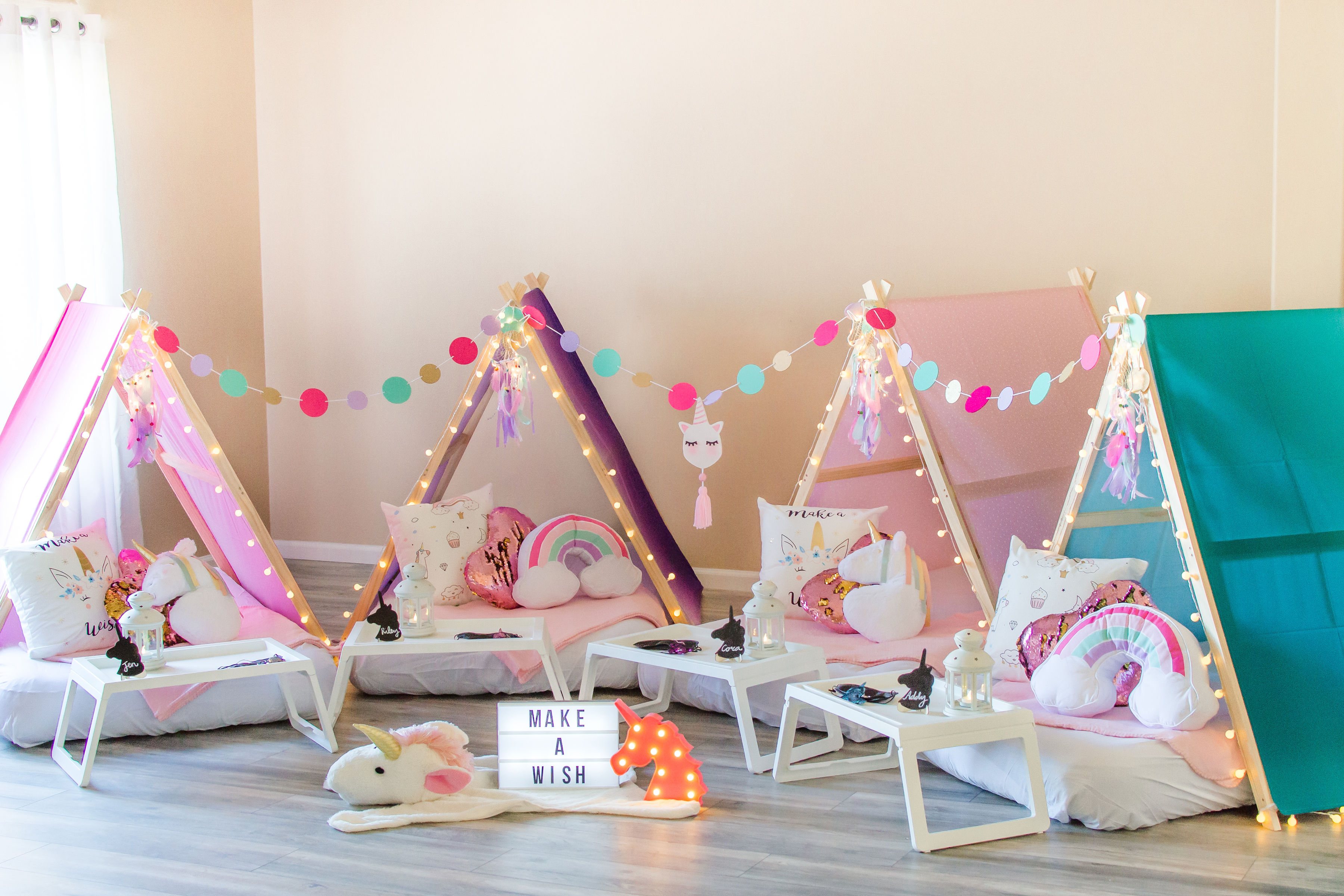 Tiny TeepeeZzz Slumber Party Tent Rentals L Themed Sleepover Teepees L Kids Birthday Parties L