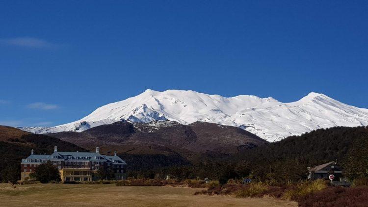 Chateau Tongariro and Mount Ruapehu