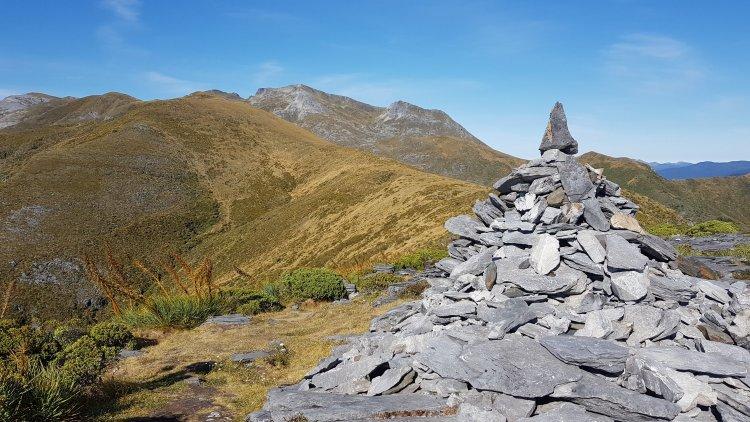 The trail follows the ridge ahead