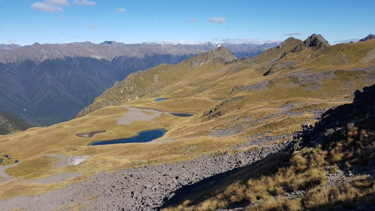 Tarns (mountain lakes) on the Eastern side of the ridge