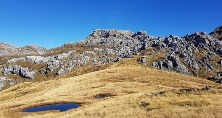 The tarns on the saddle beneath Mount Owen