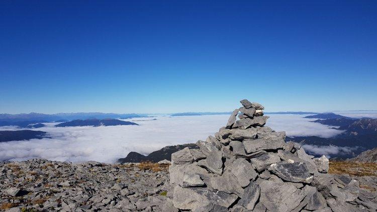 Cairn on the summit of Mount Owen