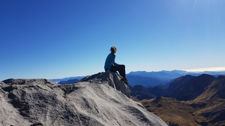 Tinytramper taking in the views on Mount Owen summit