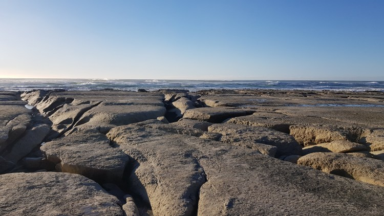 Rock platforms in the sea just after Big River