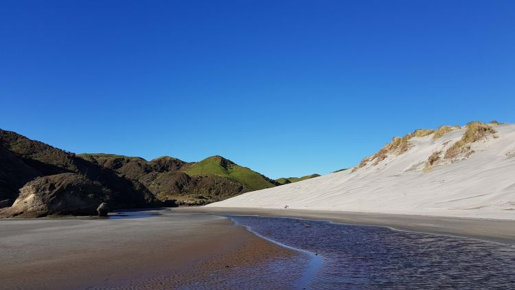 Giant sand dunes at the Northern end of Wharariki Beach