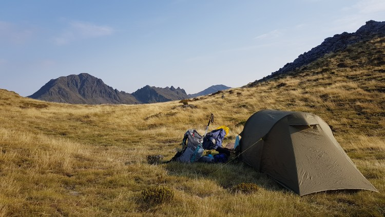A perfect camp spot at the tarns on the Lockett Range