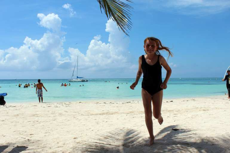 My daughter on Akumal Beach