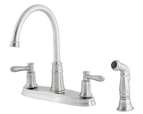 pfister f036cl4s harbor double handle high arc 4 hole kitchen faucet stainless steel deskelok4 blog