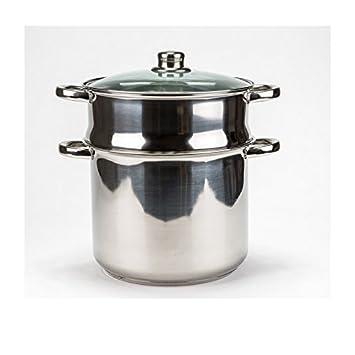 couscoussier cuit vapeur inox 3 niveaux 20cm tout feux et induction 2 litres