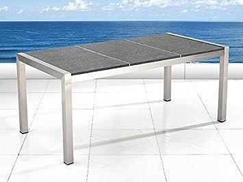 table de jardin acier inox plateau granit triple 180 cm gris poli grosseto fr shop