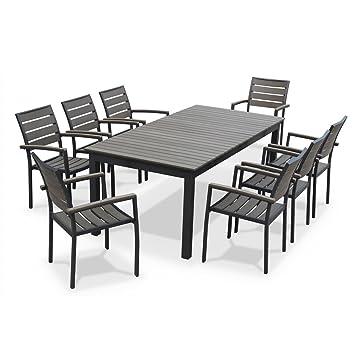 alice s garden salon de jardin table extensible seattle marron vieilli table 205 260cm avec rallonge et 8 fauteuils en bois composite jhgftyuiuytr