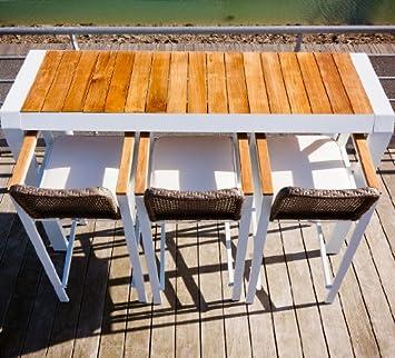 salon d a c ta c table de jardin bar aluminium et teck blanc design pour 4 personnes cona u pour l exta c rieur find discount zcvbhgffgha