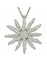daf7f9af31c1 Ramona Singer Sterling Silver Sunburst Necklace with Crystal Cubic Zirconia  Stones on 18′ Chain