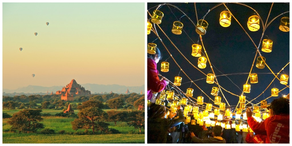Myanmar and sunrise in Bagan