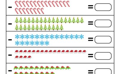 Free Printable Winter/Christmas Subtraction Worksheet