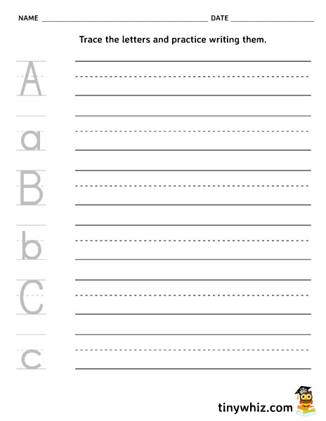 free printable a b c writing worksheet for kindergarten tiny whiz. Black Bedroom Furniture Sets. Home Design Ideas