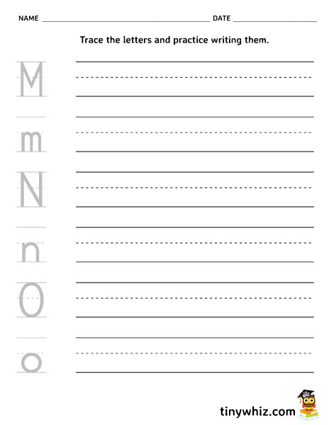 picture about Printable O named Totally free Printable Worksheet Composing Letters M, N, O