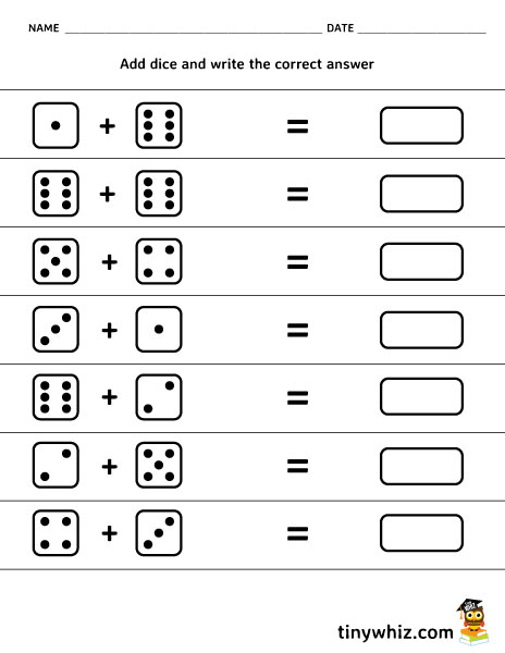 free printable math worksheet add dice tiny whiz. Black Bedroom Furniture Sets. Home Design Ideas